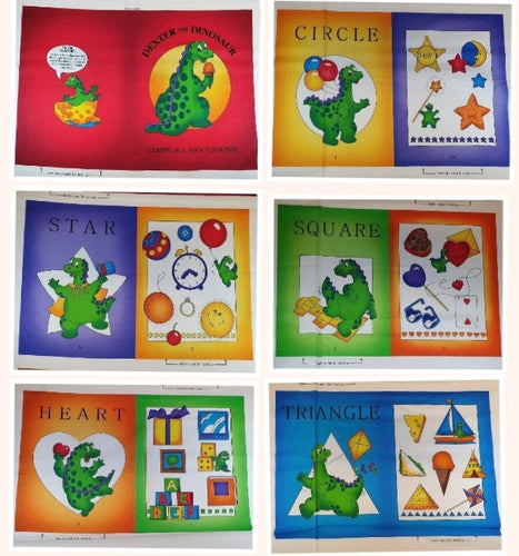 Quilting Treasures Dexter The Dinosaur learns About Shapes 100% Cotton Panel