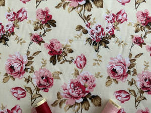 Beautiful Vintage Pink Roses on a Ivory Background Poly Cotton