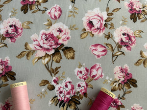 Beautiful Vintage Pink Roses on a Silver Grey Background Poly Cotton
