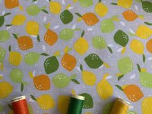 Load image into Gallery viewer, Lemons Multi Color on a Silver Grey Background 100% Cotton