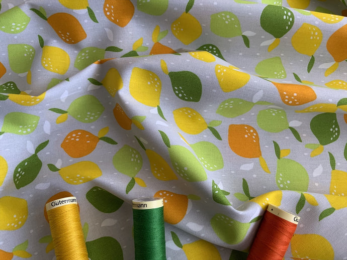Lemons Multi Color on a Silver Grey Background 100% Cotton