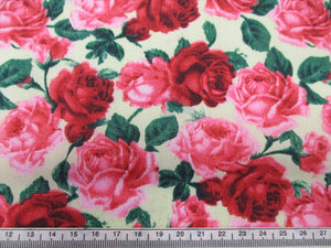 Vintage Roses Red and Pink on a Lemon Background
