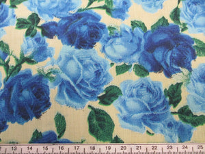 Vintage Roses Royal Blue and Sky Blue on a Cream Background