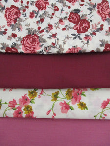 Vintage Pink Roses Flower Mix Fat Quarter Bundle Poly Cotton