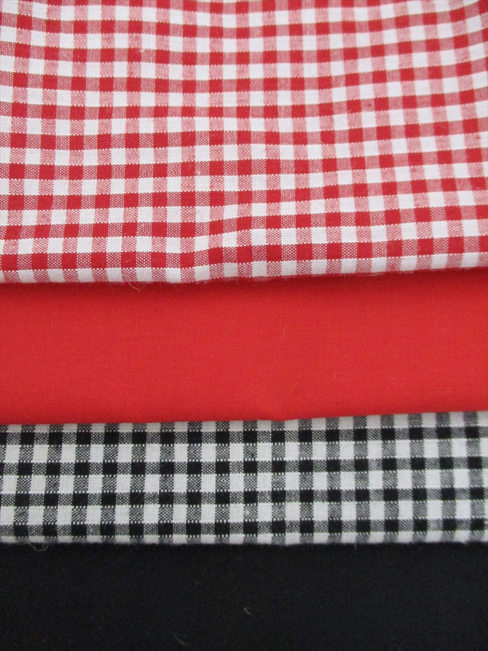 Red and Black Mix Poly Cotton