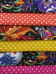 Carnival Masks and Bright Polka Dots Fat Quarter Bundle 100% Cotton