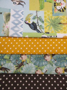 Jungle Animals and Cheeky Monkeys 3mm Polka Dots Fat Quarter Bundle 100% Cotton