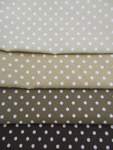 Brown and Beige Mix 3mm Polka Dots Fat Quarter Bundle 100% Cotton