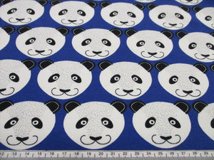 Jersey Panda Design Cotton Loop Back on a Royal Blue Background