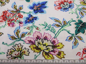 Special Offer! Jersey Bright Floral Design on a Ivory Background