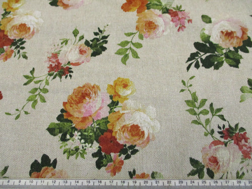 Linen Beautiful Vintage Roses on a Natural Background