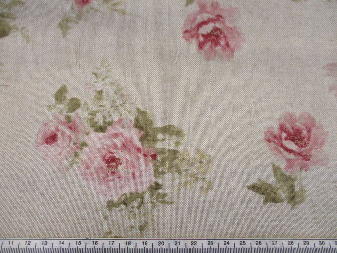 Linen Vintage Dusky Pink Roses on a Natural Background Large