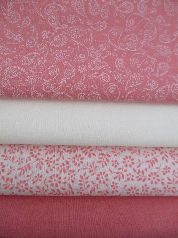 Ditsy Flower and Paisley Vintage Pink Fat Quarter Bundle Poly Cotton