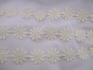 Guipure Daisy and Butterfly Embroided Lace Width 25mm