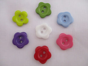 Flower Buttons Acrylic 15mm Diameter