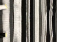 Load image into Gallery viewer, Ribbed Jersey Barcode Stripe Black & White 93% Polyester 7% Elastane