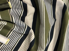 Load image into Gallery viewer, Ribbed Jersey Barcode Stripe Olive Black & White 93% Polyester 7% Elastane
