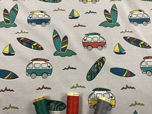 Load image into Gallery viewer, Surf Caravan Cotton Jersey on a Silver Background 95% Cotton 5% Spandex