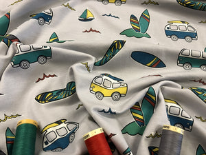 Surf Caravan Cotton Jersey on a Silver Background 95% Cotton 5% Spandex