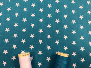 Stars 8mm White on a Turquoise Background 100% Cotton