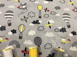 Helicopters, Airplanes & Hot Air Balloons on a Silver Grey Background 100% Cotton
