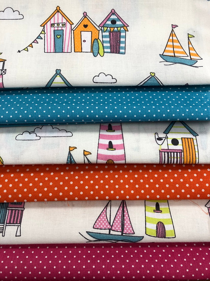 Happy Days Tutti Frutti Beach Huts Lighthouses & Pin Spots Fat Quarter Bundle 100% Cotton