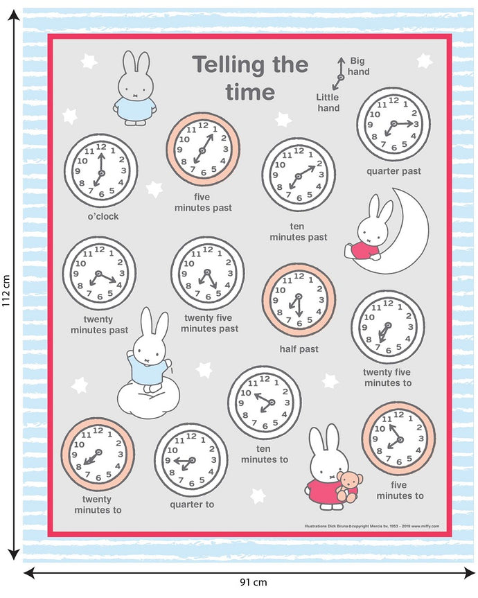 Miffy Telling The Time Panel Silver Grey Background 100% Cotton
