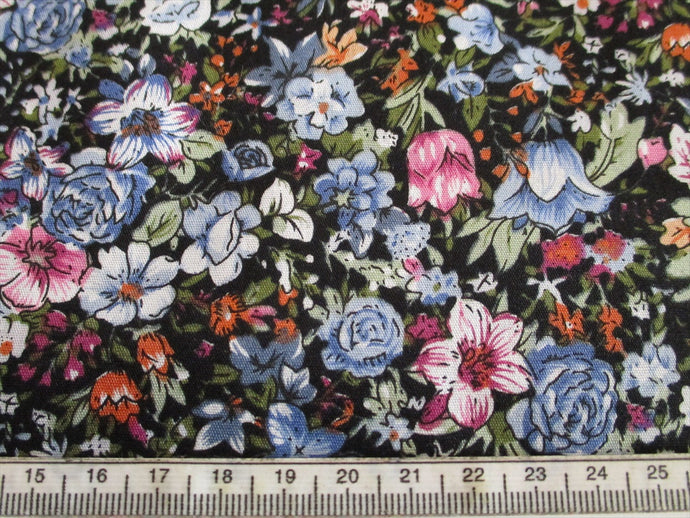 Retro Flowers Blue and Pink Mix 100% Cotton Fabric