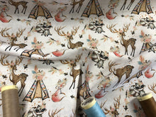 Load image into Gallery viewer, Wigwam Teepee Woodland Animals Design on a Ivory Background Digital Print 100% Cotton