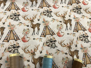 Wigwam Teepee Woodland Animals Design on a Ivory Background Digital Print 100% Cotton