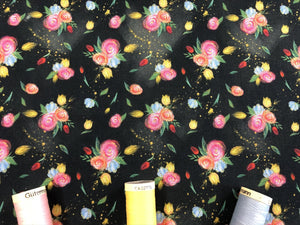 Pretty Floral Design on a Black Background Digital Print 100% Cotton
