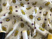 Load image into Gallery viewer, Busy Bumble Bees on a Cream Background Poly Cotton