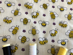 Busy Bumble Bees on a Cream Background Poly Cotton
