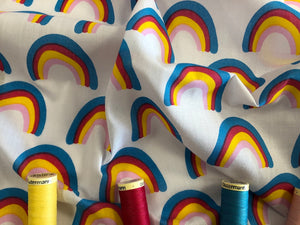 Bright Color Rainbows on a White Background Poly Cotton