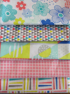 Pop Geo Pink Multi Color Pastel Designs Fat Quarter Bundle 100% Cotton
