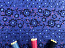 Load image into Gallery viewer, Makoti Collection by Stuart Hillard Navy Blue Flower Border on a Royal Blue Background 100% Cotton