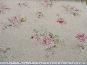 Linen Vintage Dusky Pink Roses on a Natural Background Small