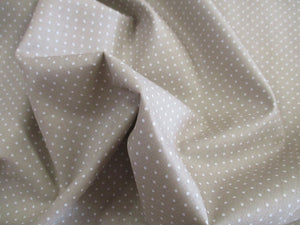 Pin Spot White on a Light Beige Background 100% Cotton