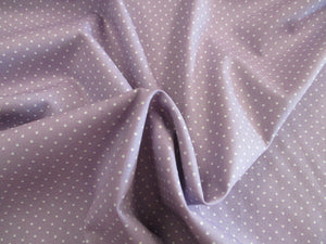 Pin Spot White on a Lilac Background 100% Cotton