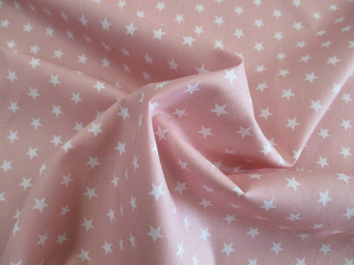 Stars 8mm White on a Pale Pink Background 100% Cotton