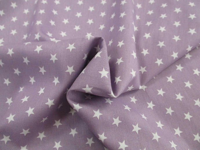 Stars 8mm White on a Lilac Background 100% Cotton