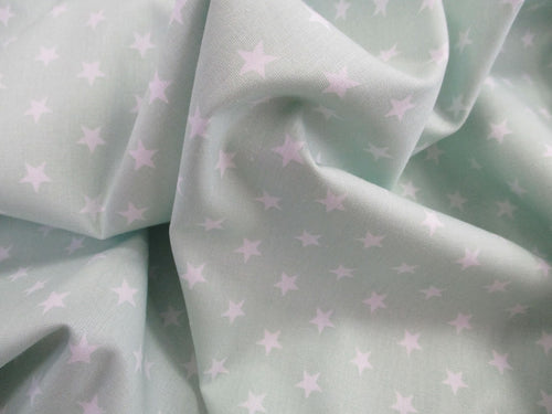 Stars 8mm White on a Mint Background 100% Cotton