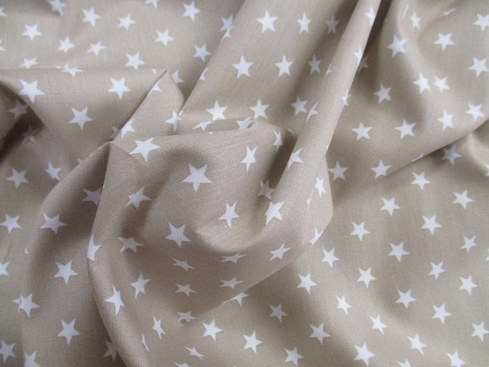 Stars 8mm White on a Beige Background 100% Cotton