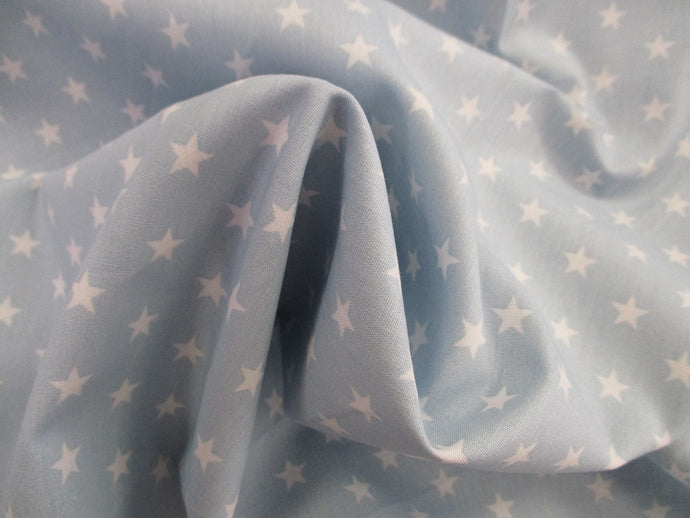Stars 8mm White on a Sky Blue Background 100% Cotton