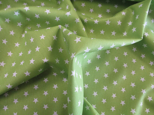 Stars 8mm White on a Lime Background 100% Cotton