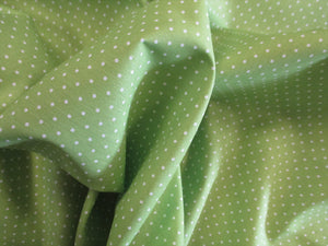 Pin Spot White on a Lime Background 100% Cotton