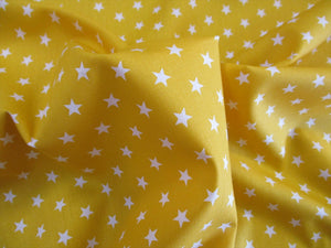 Stars 8mm White on a Bright Yellow Background 100% Cotton