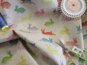 Linen Digital Print Rainbow Rabbits on a Natural Background