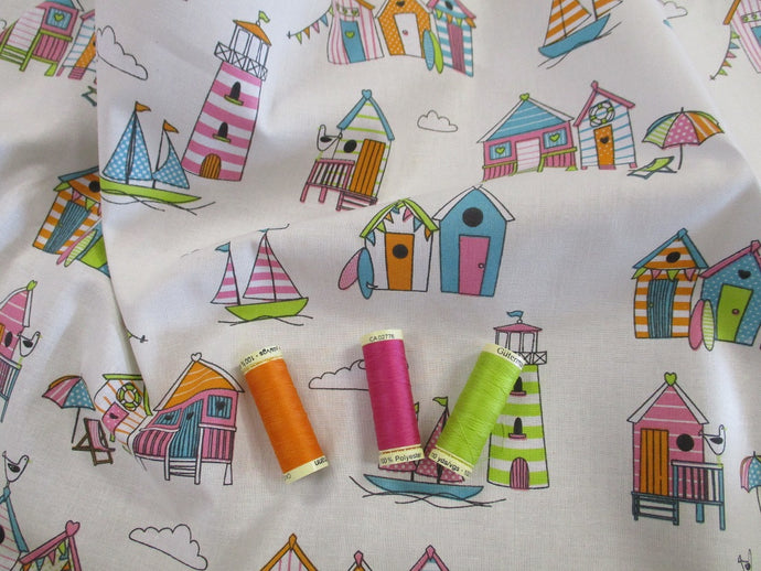 Happy Days Tutti Frutti Beach Huts on a Ivory Background 100% Cotton Fabric
