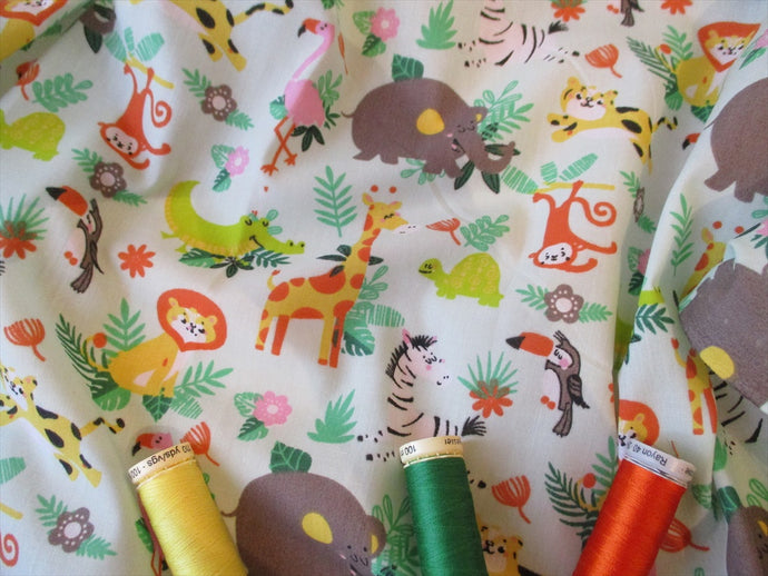 Jungle Animals on a Mint Background Poly Cotton